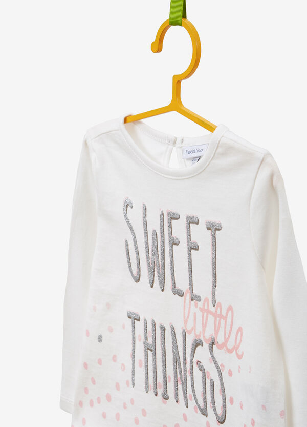 Cotton T-shirt with lettering and polka dot print