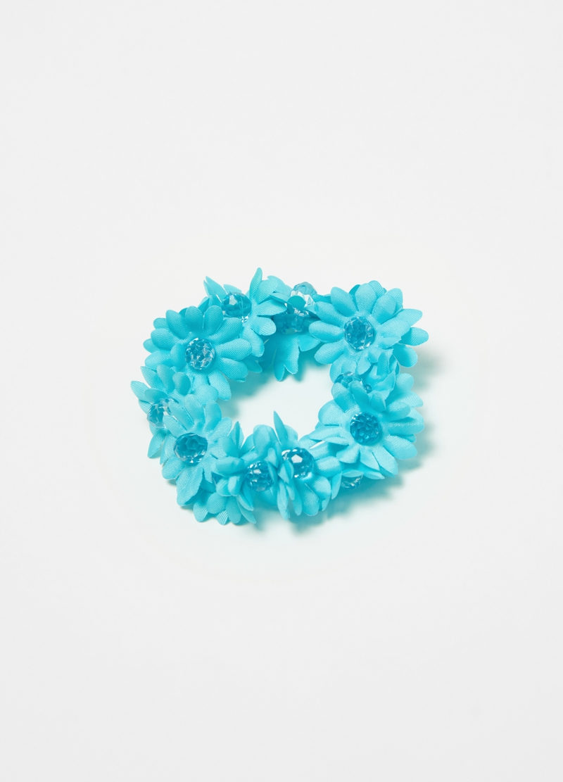 Hair elastic with flowers and beads image number null
