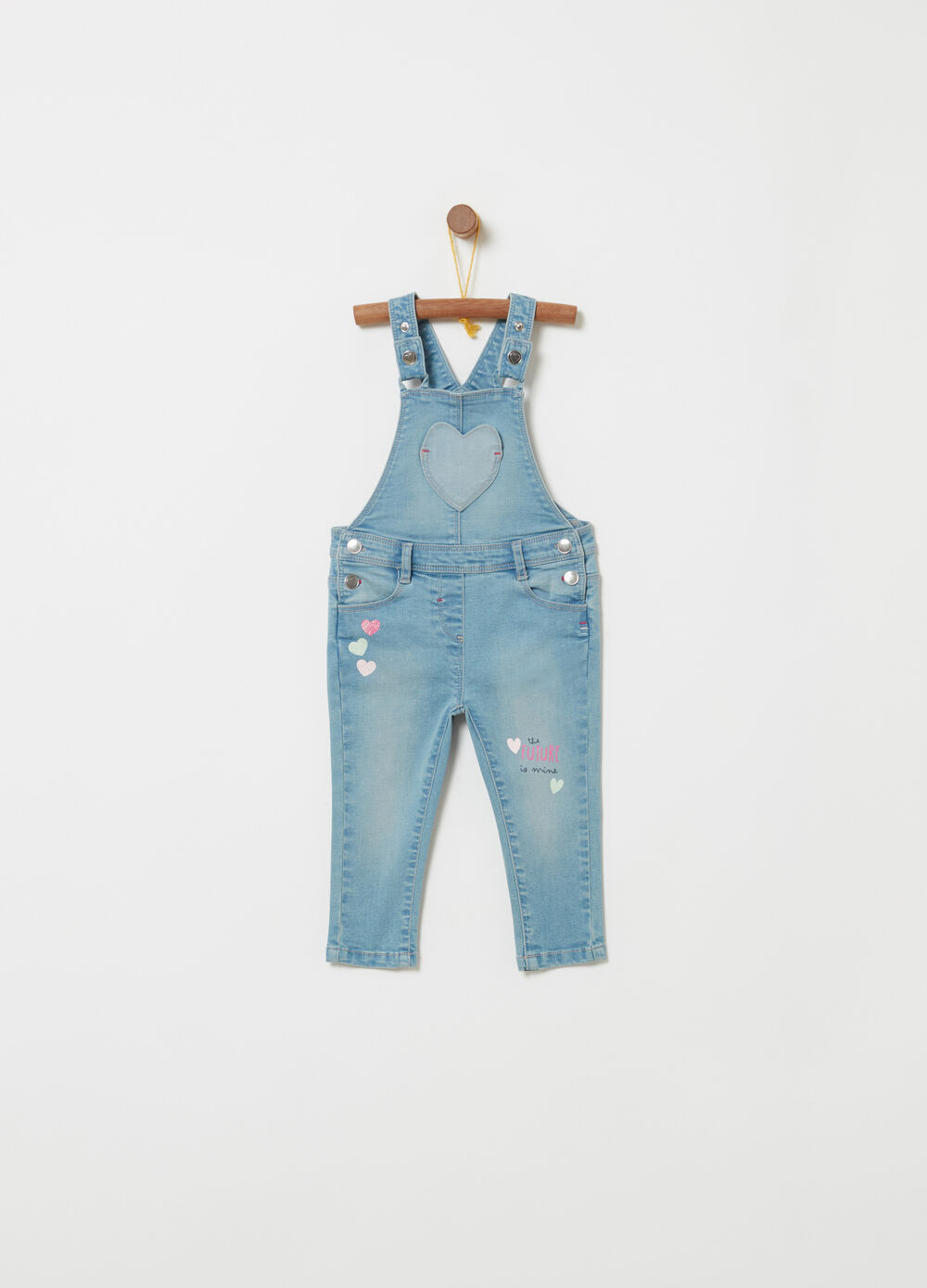 Stretch denim dungarees with glitter and print