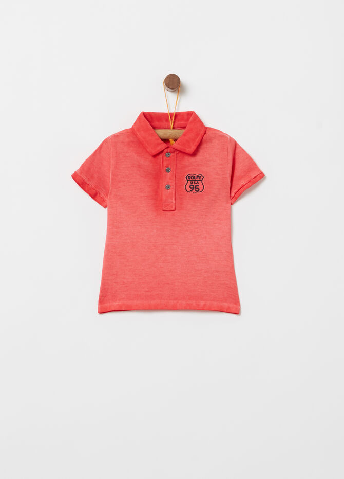 Misdyed-effect cotton polo shirt with patch