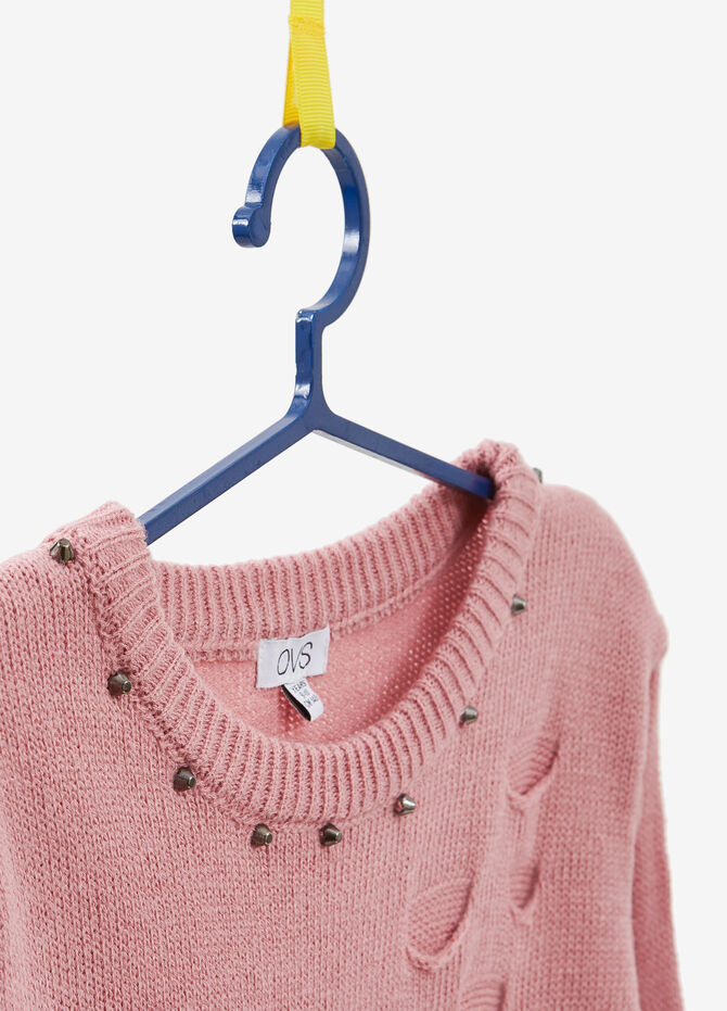 Pullover with beads and abrasions