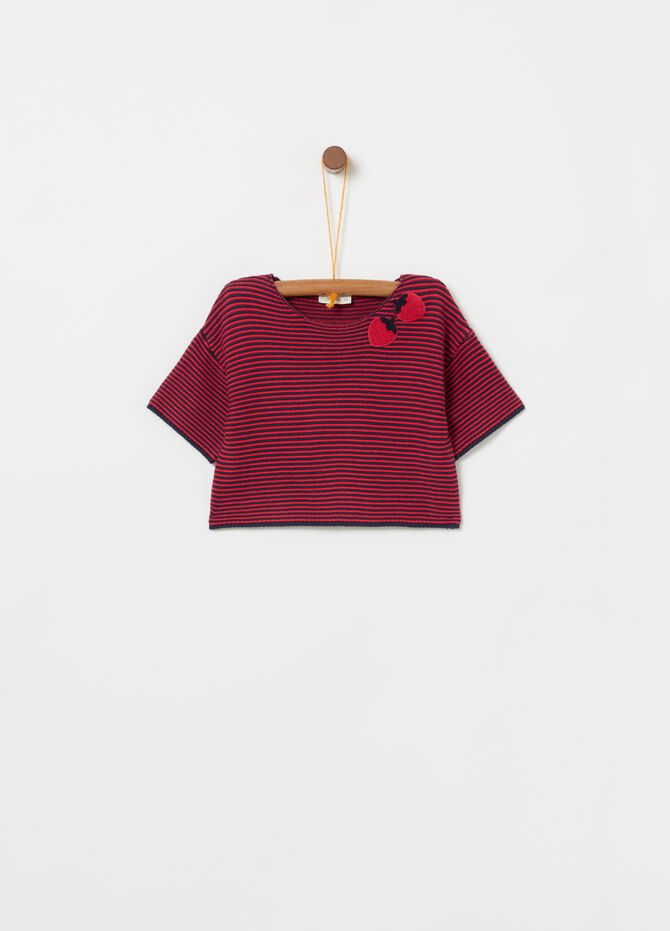 Pullover patch fragole fantasia a righe