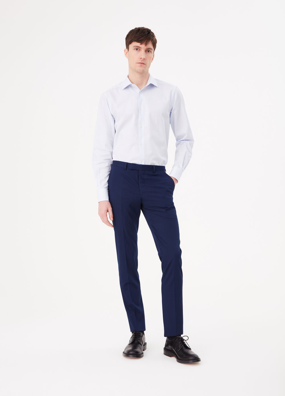 Solid colour stretch viscose blend trousers