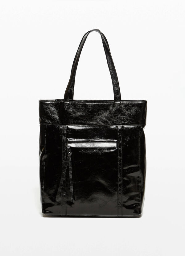 Textured-effect shiny shopping bag