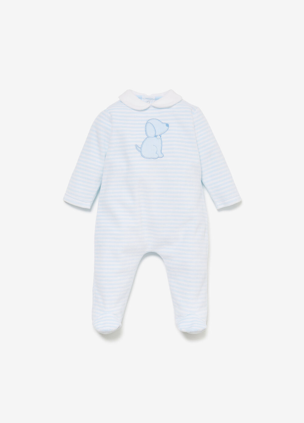 Striped romper suit with puppy patch