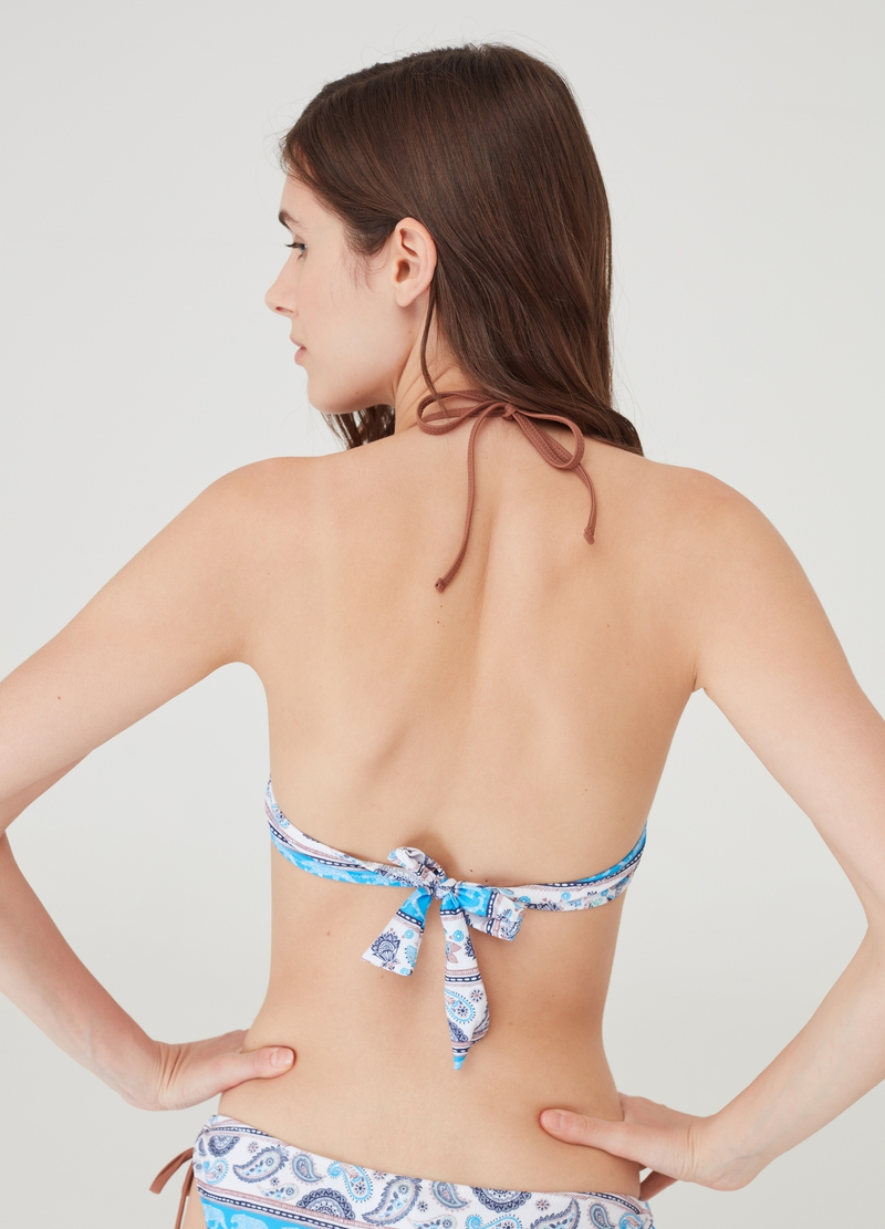 Bikini top with all-over paisley print image number null