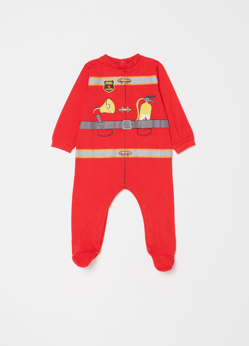 Onesie with feet and fire fighter print