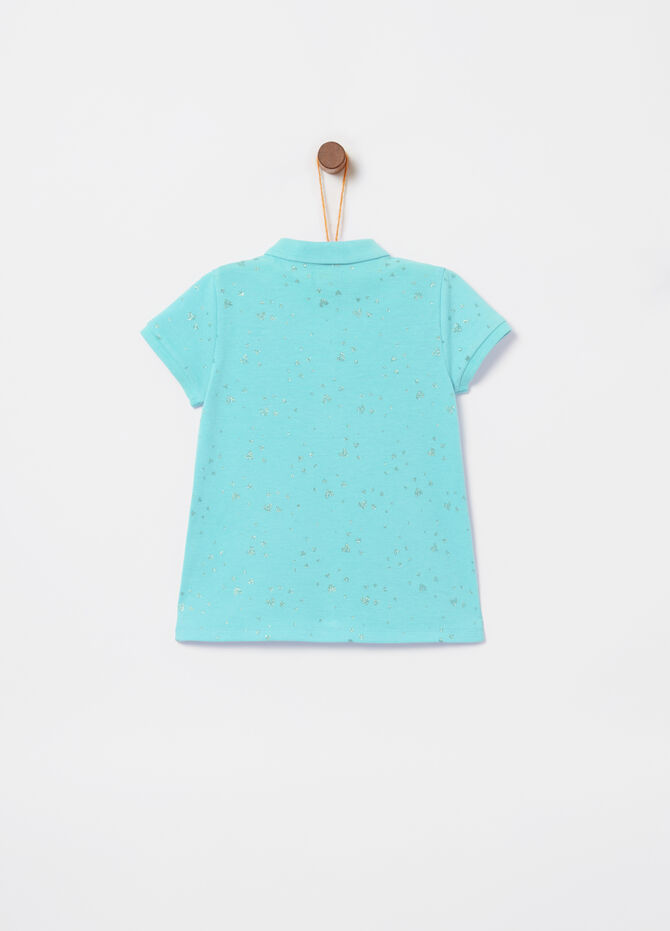 Fluorescent stretch polo shirt with all-over glitter