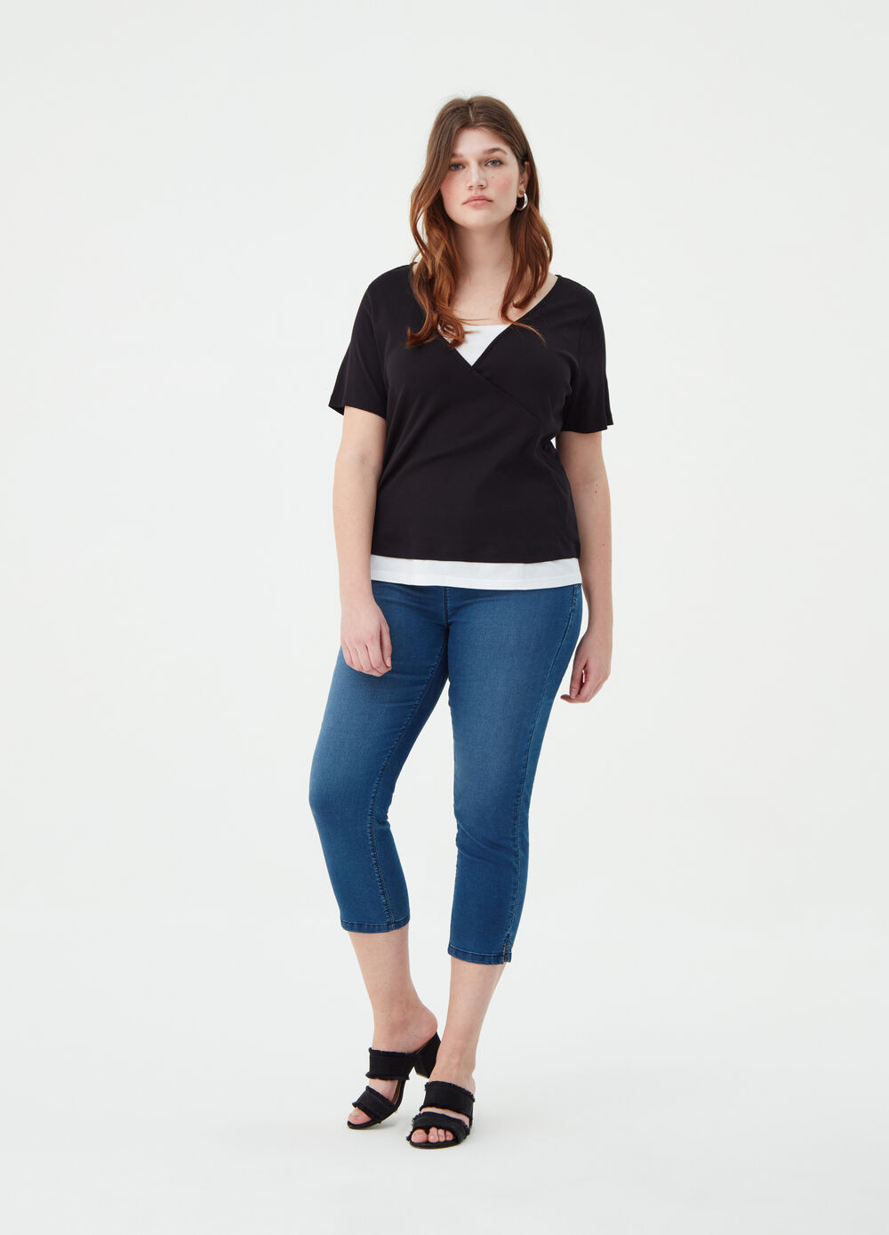 Curvy BCI T-shirt with crossover front