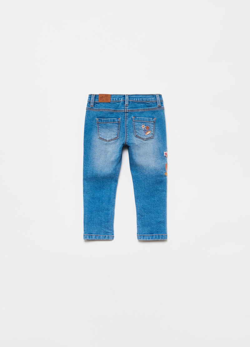 Jeans stretch con ricamo floreale image number null