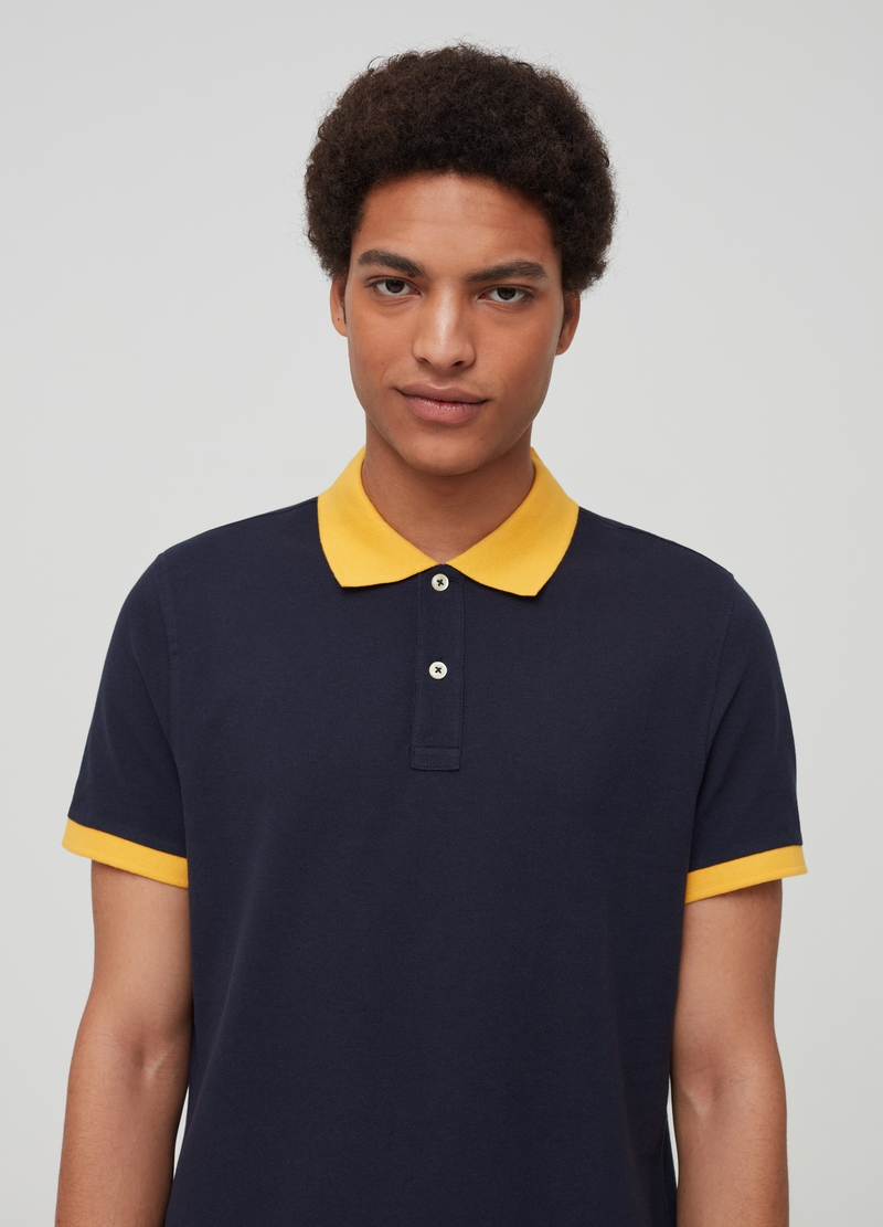Polo shirt in 100% cotton with contrasting collar image number null