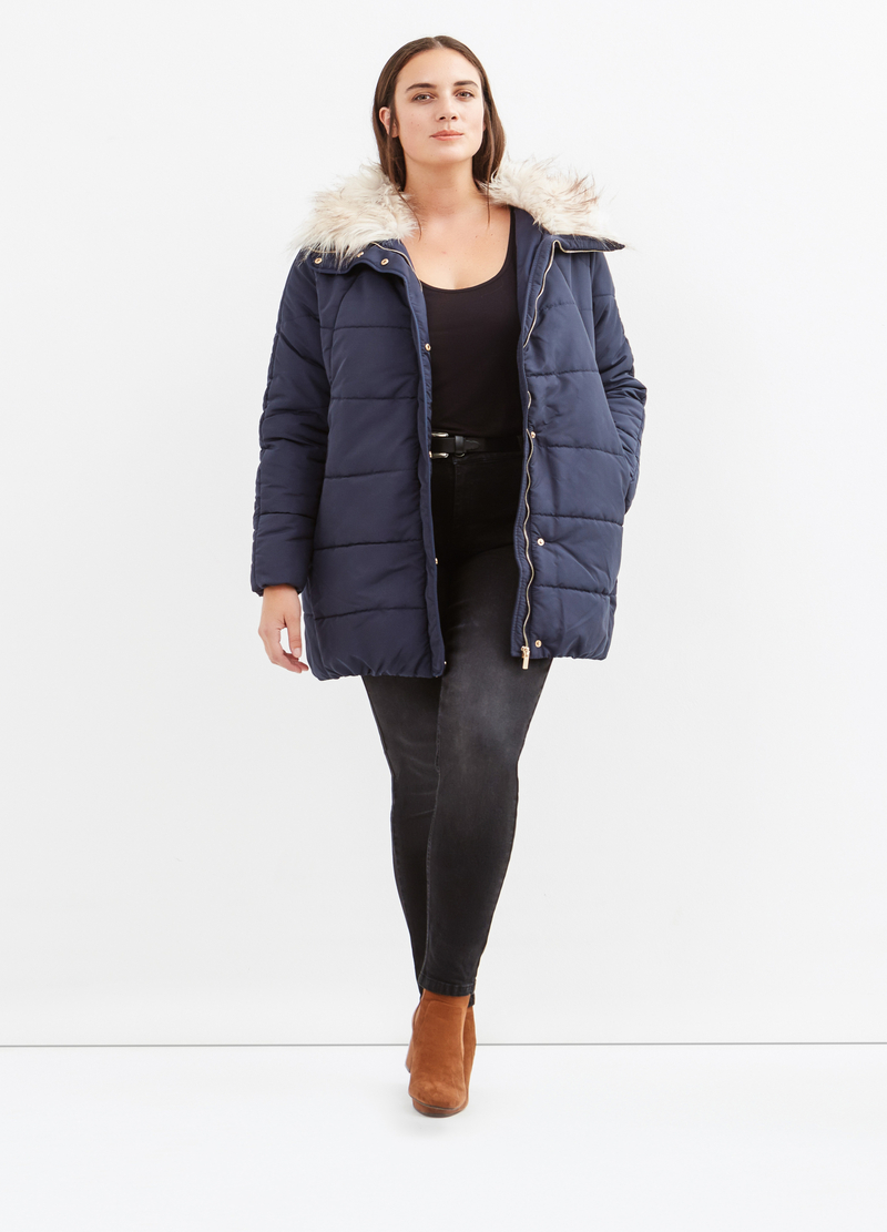Curvy high neck parka with fur image number null