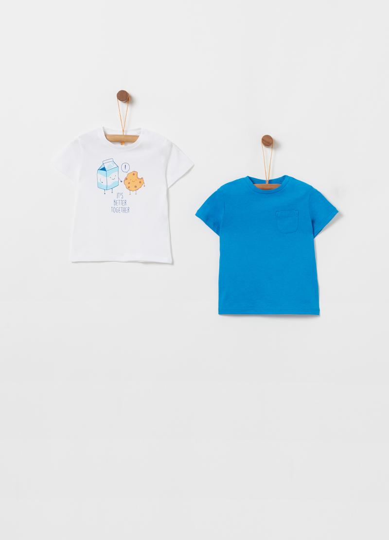 Two-pack 100% cotton T-shirts with button image number null