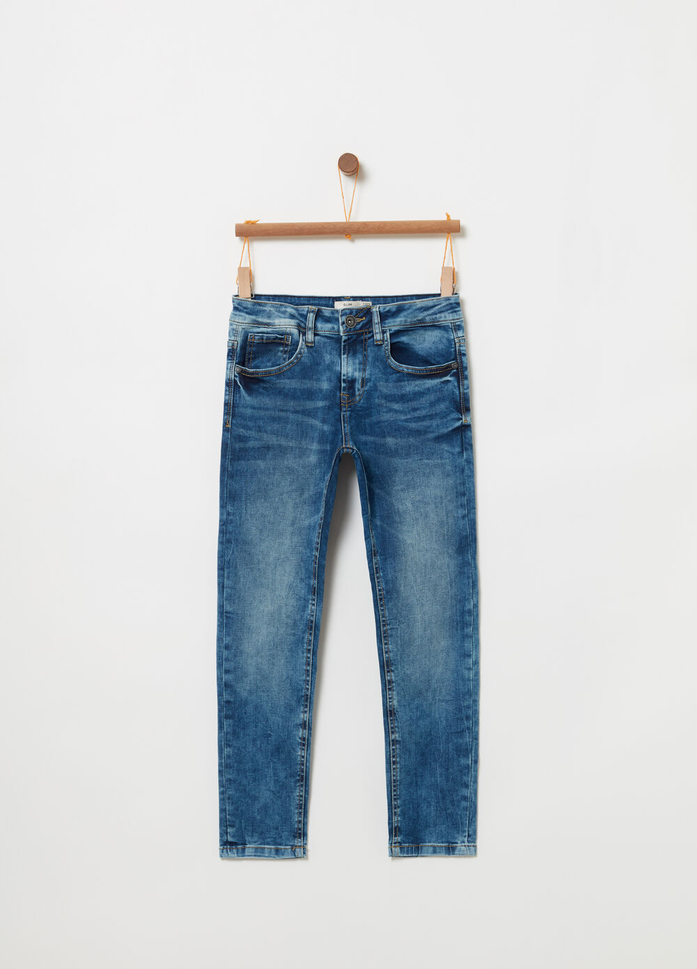 Faded-effect slim-fit stretch jeans