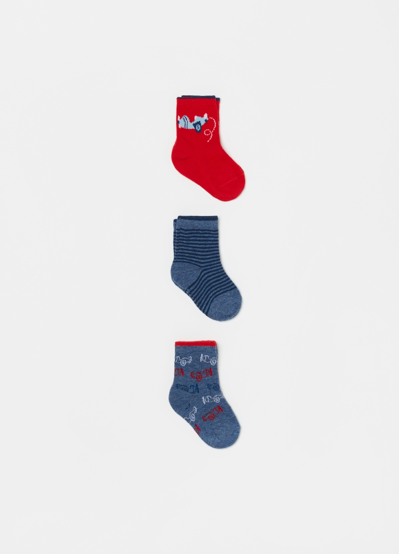 Three-pair pack short socks with aeroplanes image number null