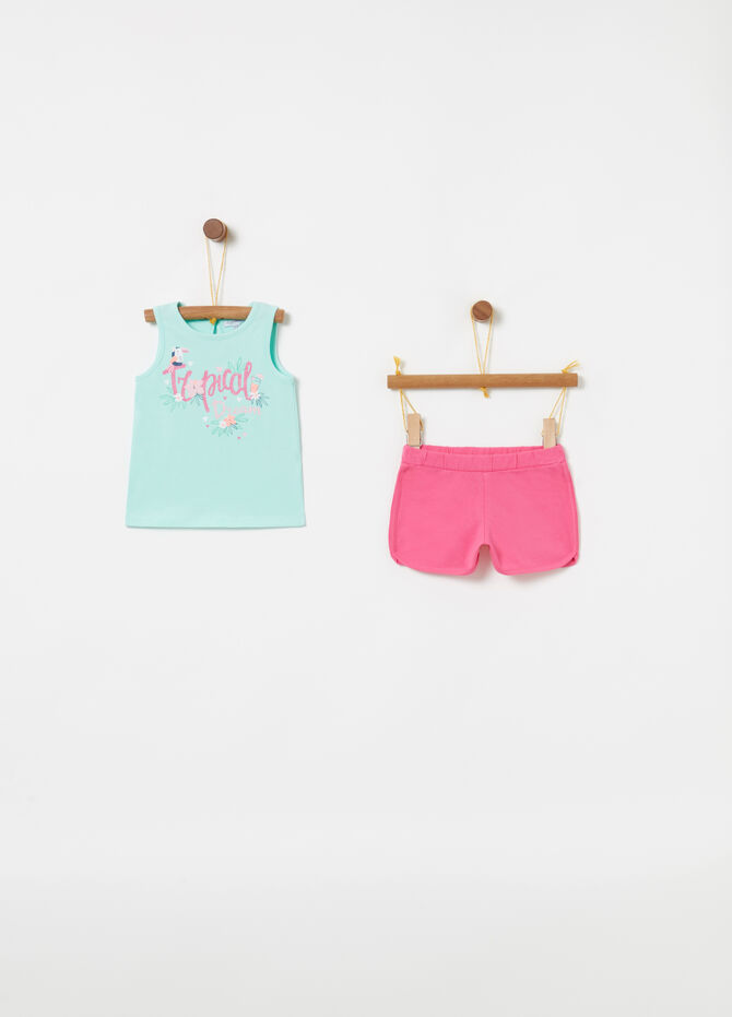 Jogging set tank top shorts lettering glitter
