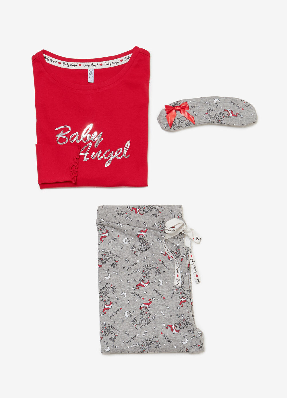 Cotton and viscose pyjamas with Baby Angel sequins