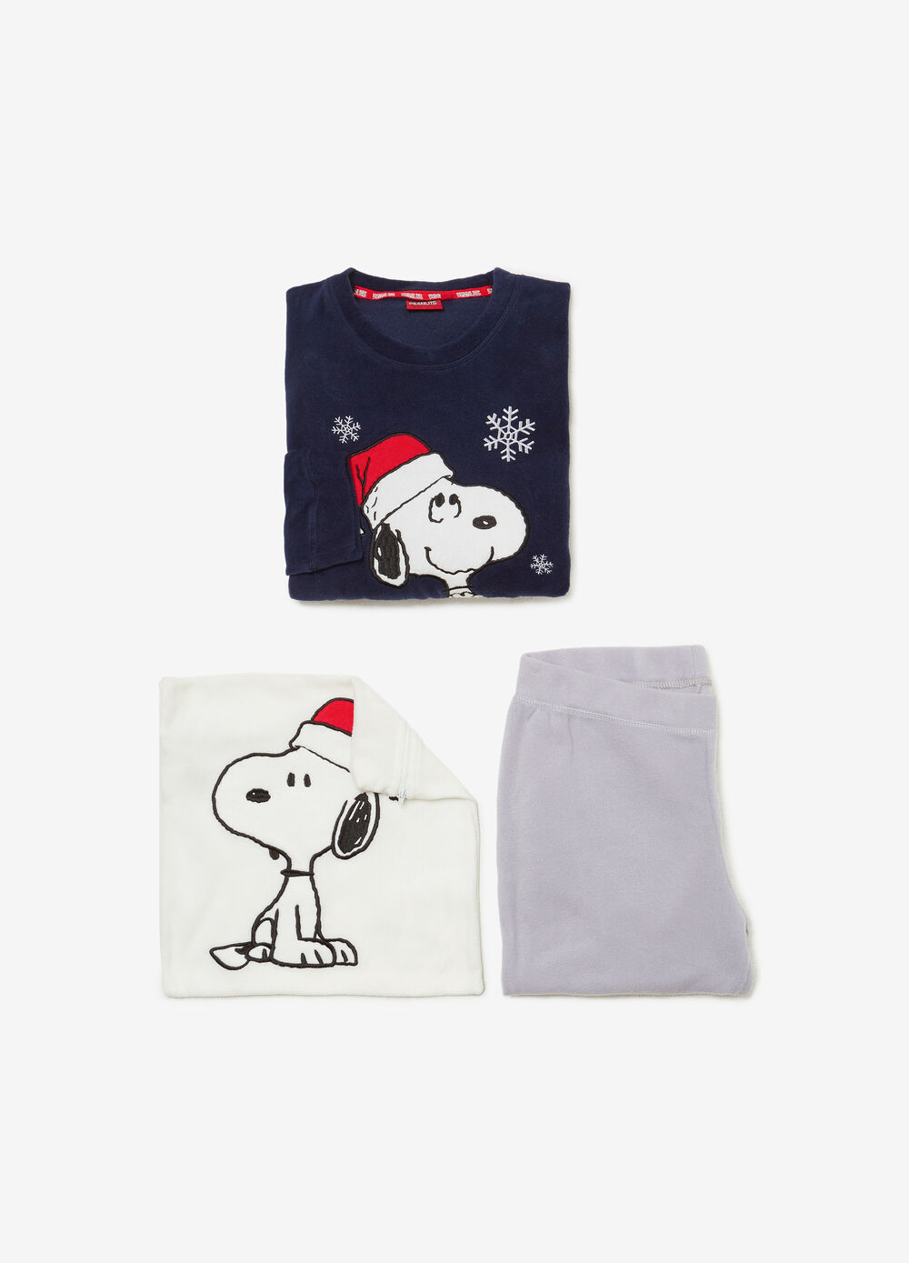 Solid colour pyjamas with Snoopy patch
