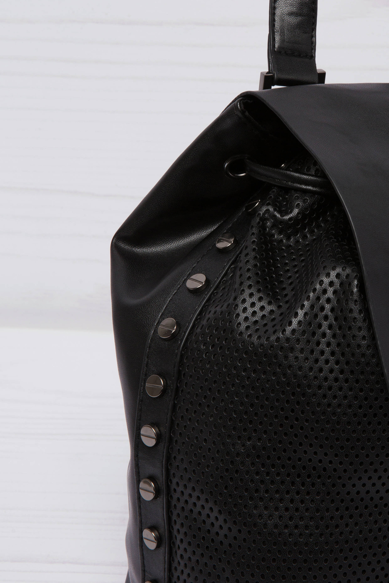 Leather look backpack with openwork insert image number null