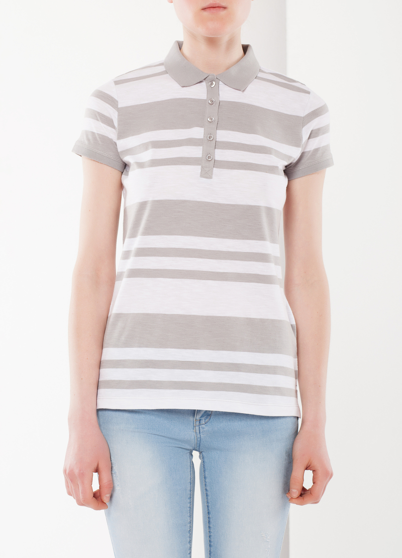 Stripe print polo shirt image number null