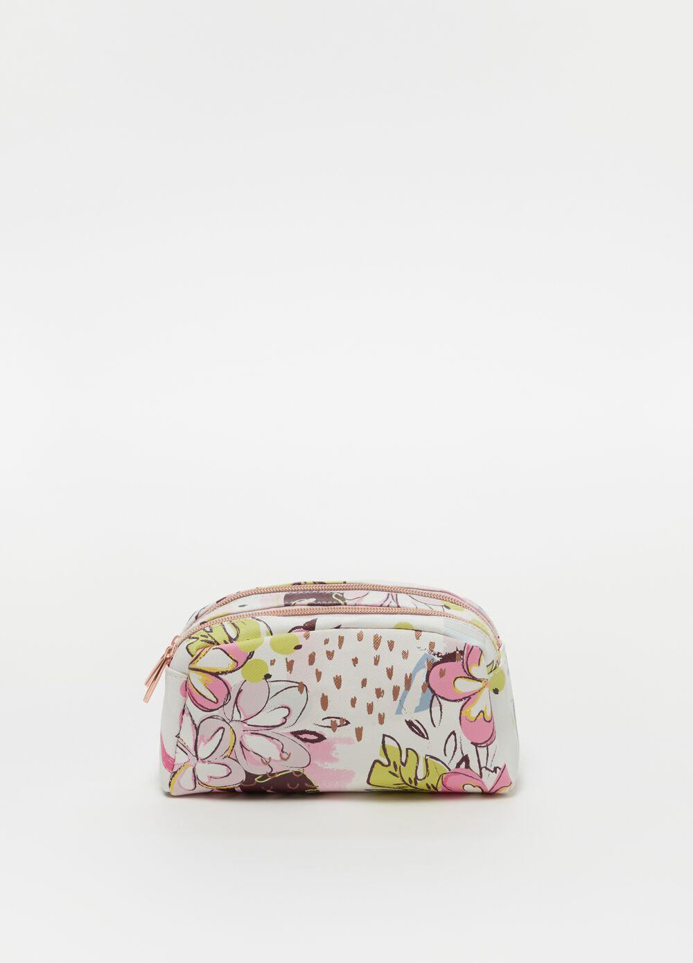 Beauty bag with double compartment with zip