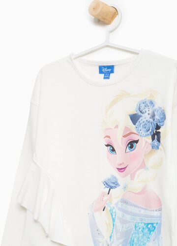 Stretch cotton Frozen T-shirt with flounces