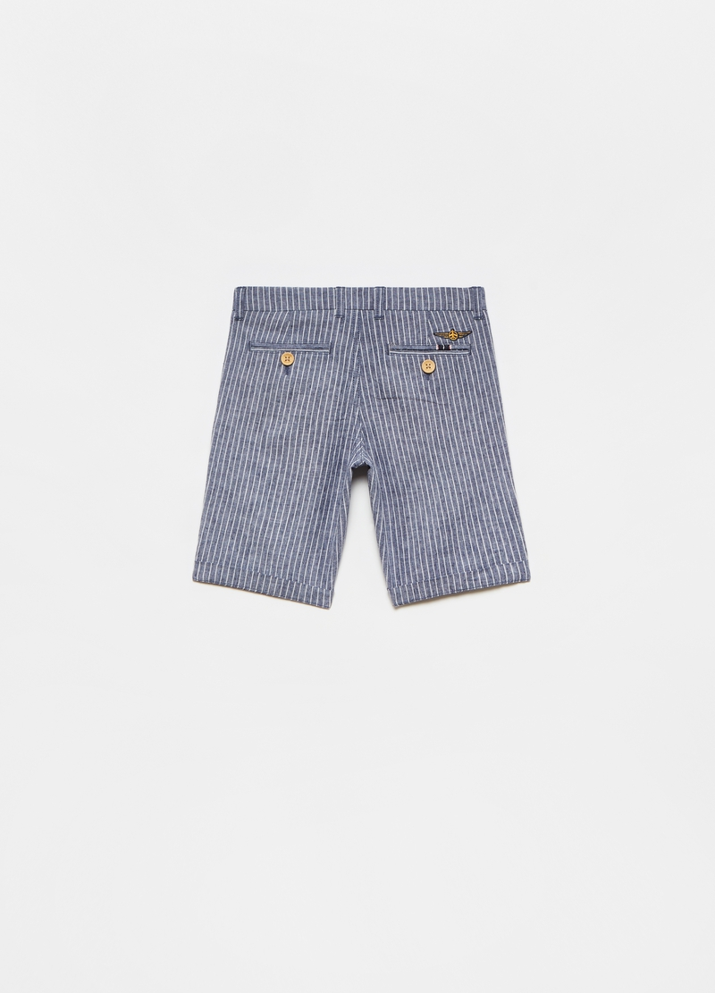Chino Bermuda shorts in striped cotton and linen image number null