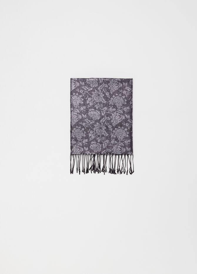 Jacquard stole with floral pattern
