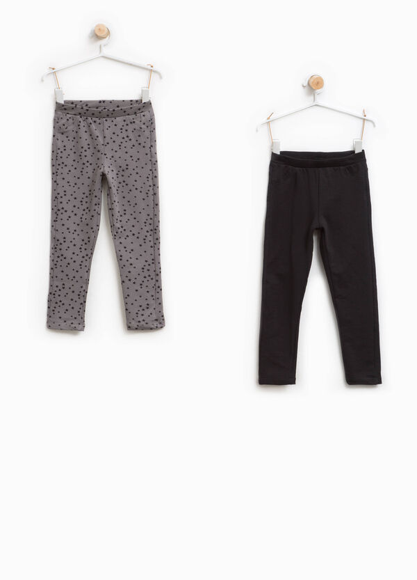 Two-pack solid colour and star patterned trousers | OVS
