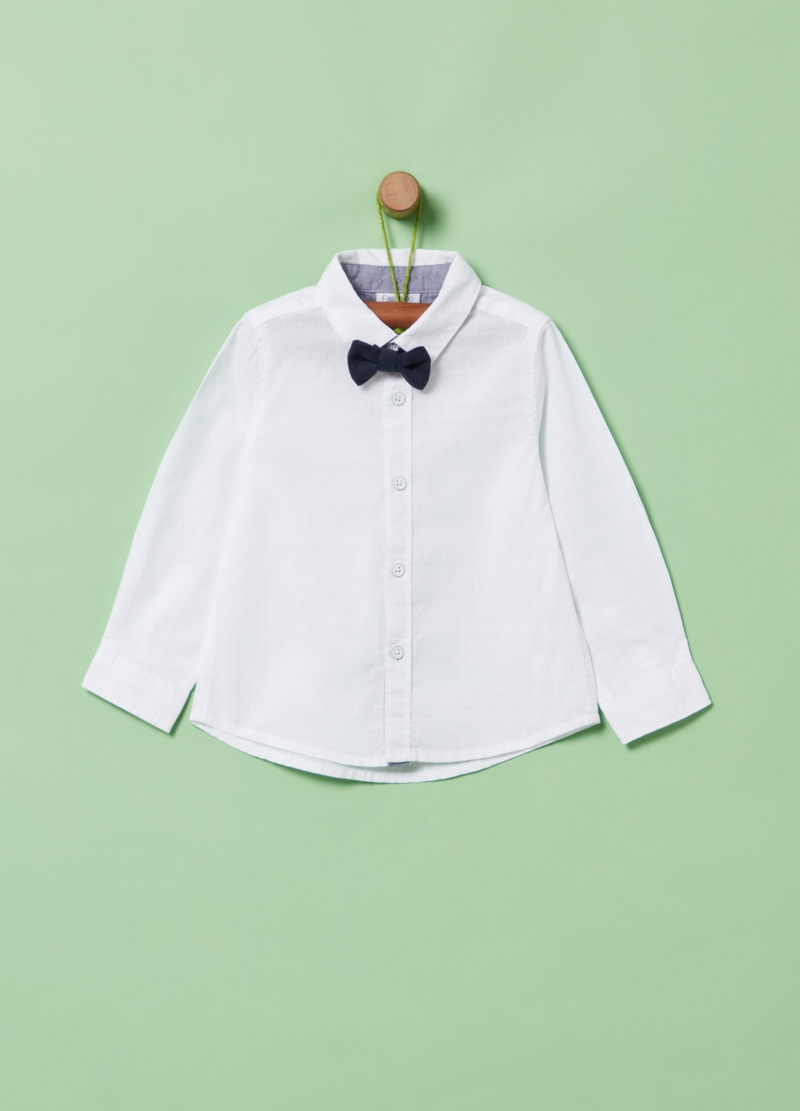 100% organic cotton shirt with bow tie image number null