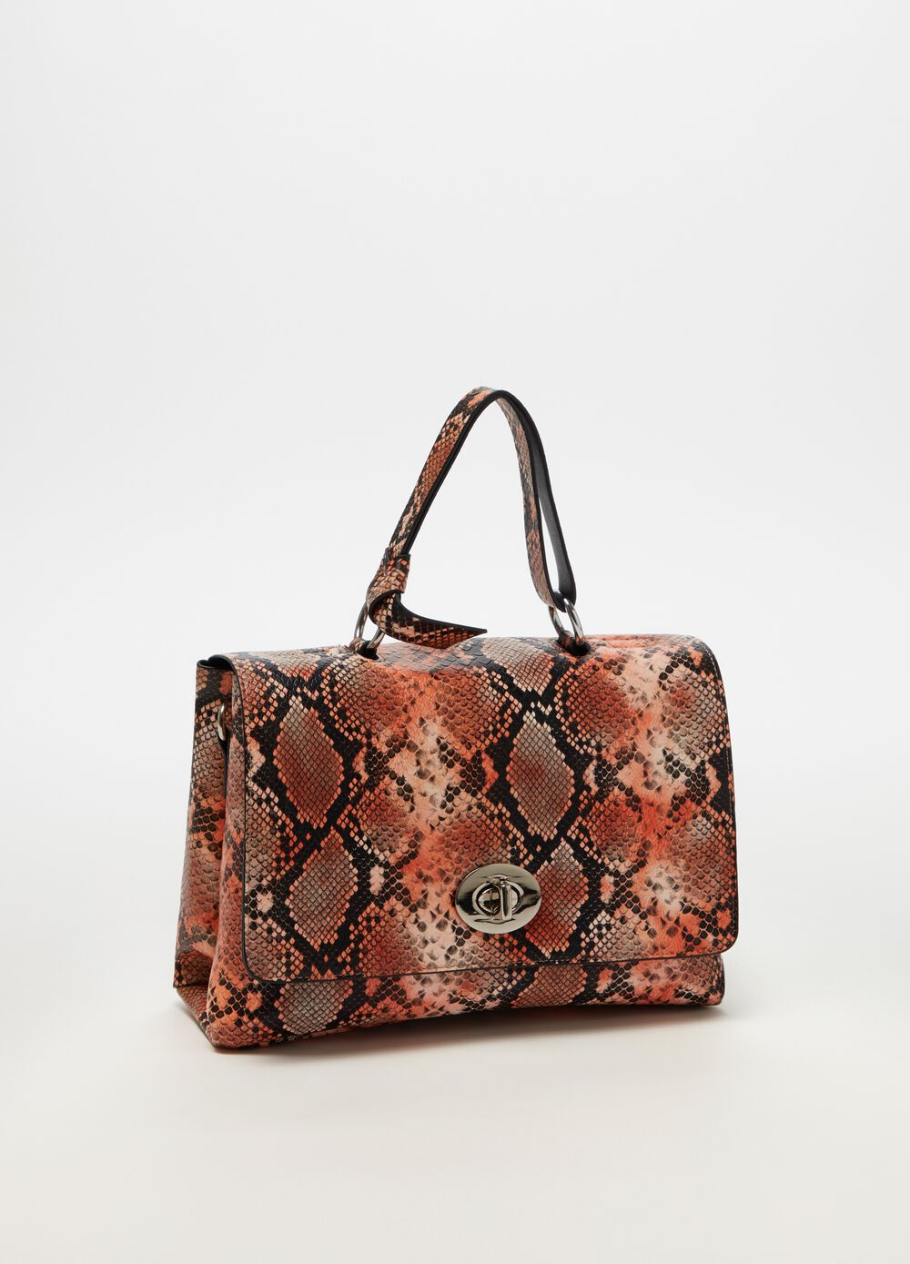 Briefcase with snakeskin-effect print