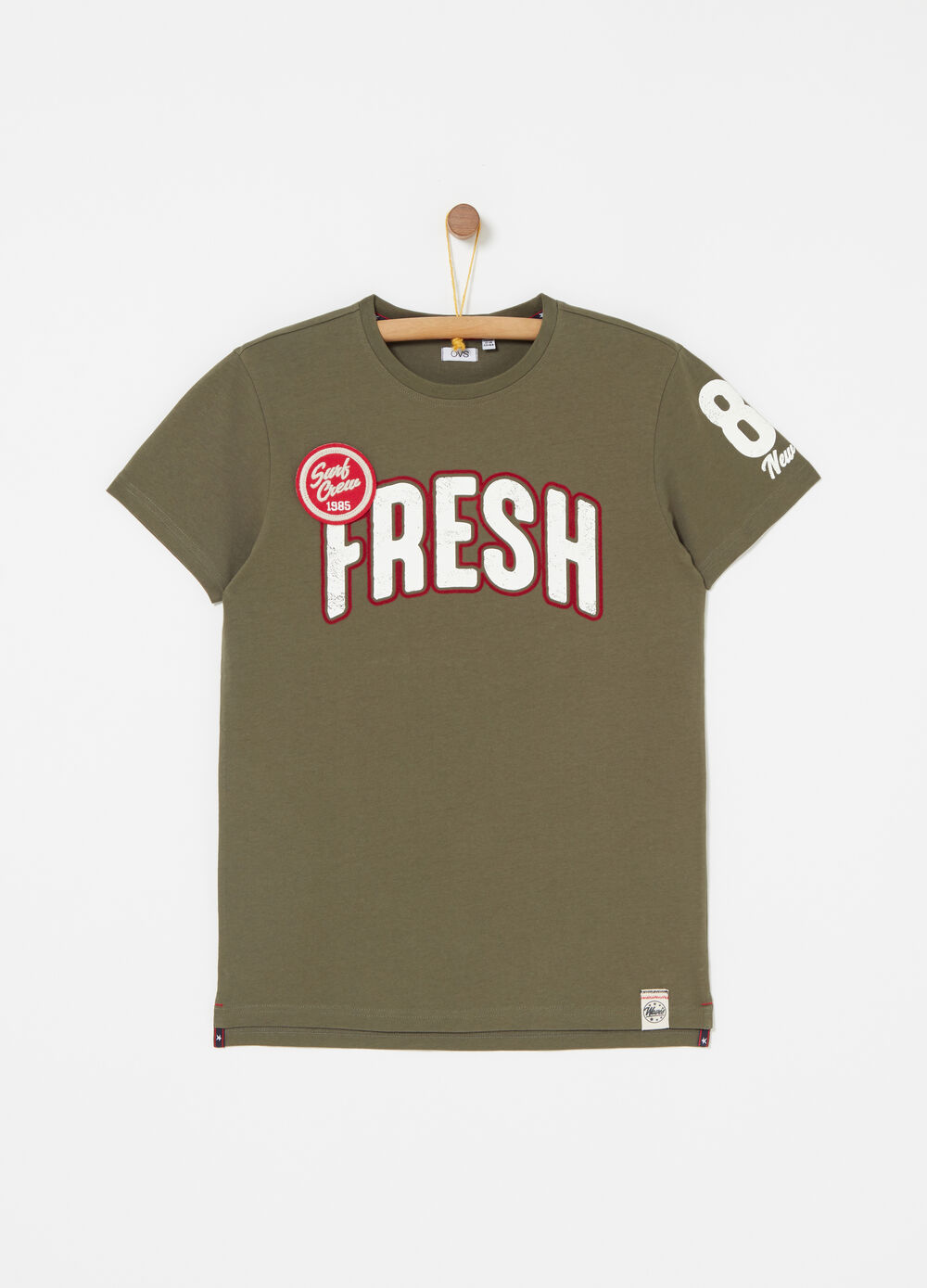 100% cotton T-shirt with patch and print