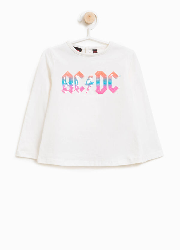 T-shirt cotone stretch paillettes AC/DC