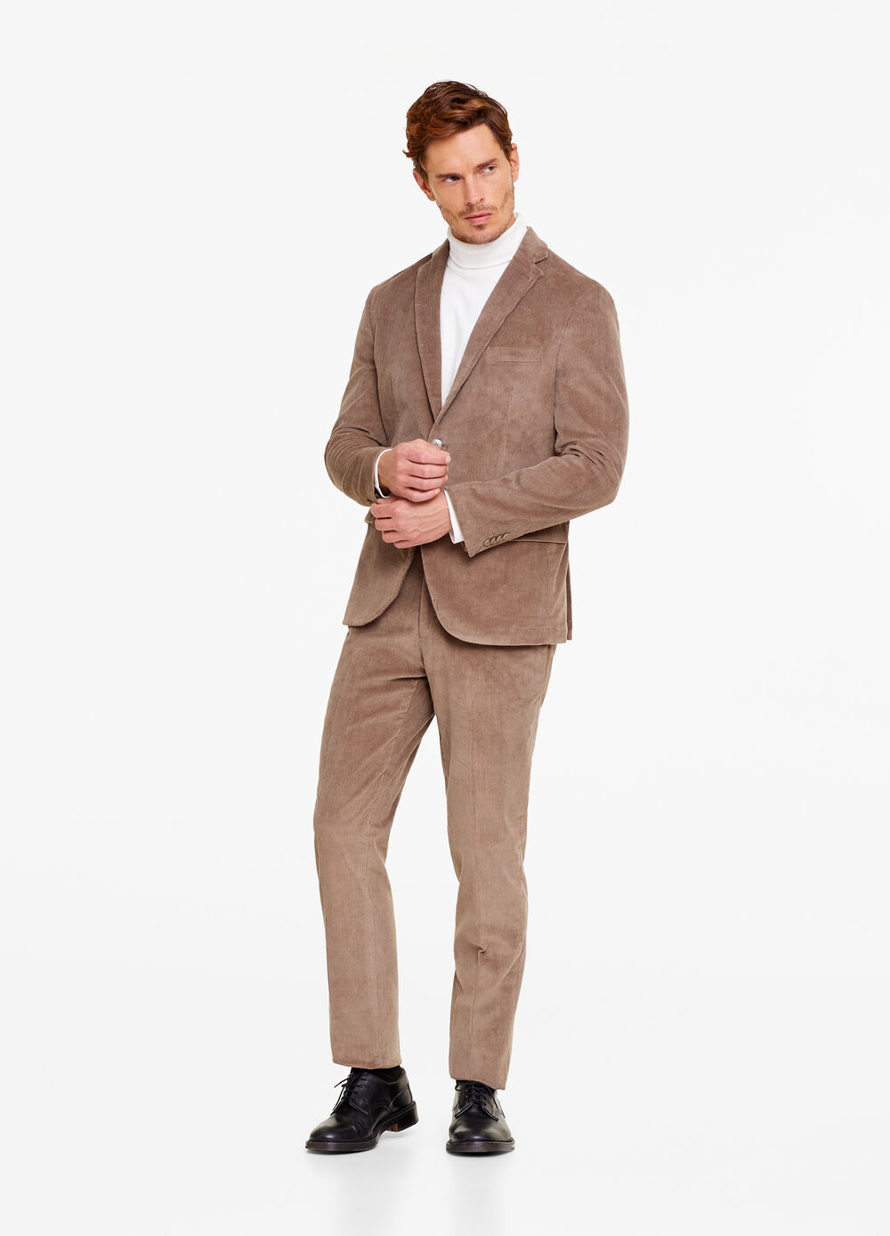Regular-fit two-button ribbed blazer