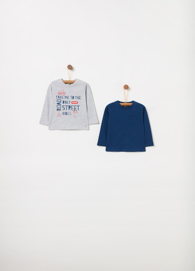Two-pack long-sleeved T-shirts with print