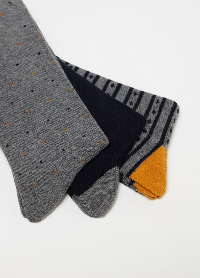 Three-pack long stretch socks with pattern