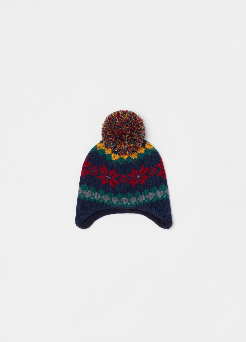 Hat with pompom and jacquard pattern image number null