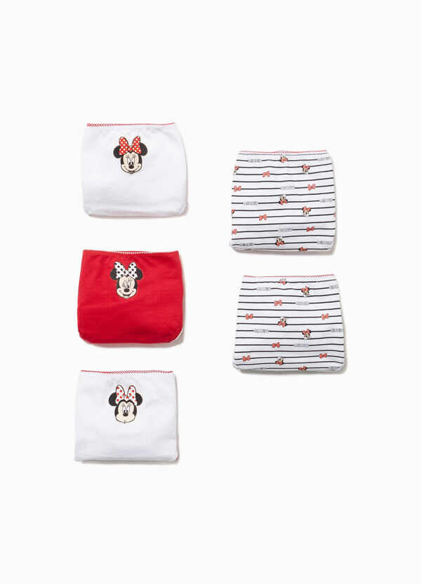 Five-pack Minnie mouse briefs in 100% cotton