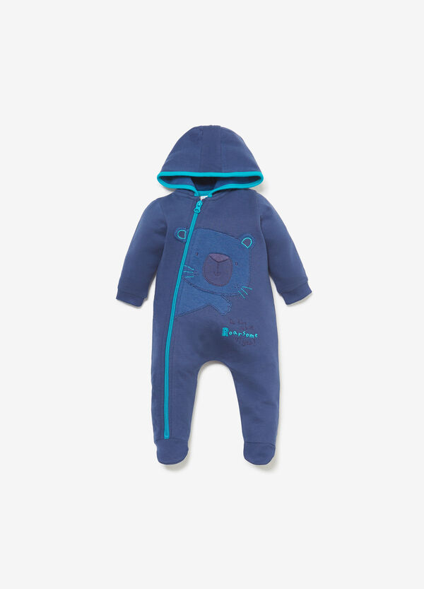 Romper suit with hood and teddy bear patch