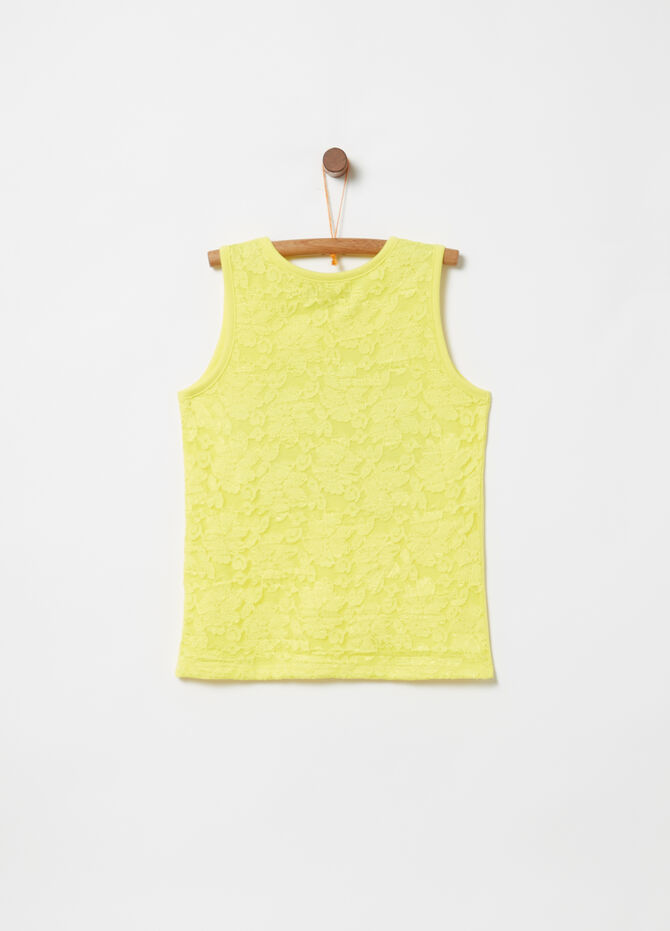 Tank top with insert and glitter print