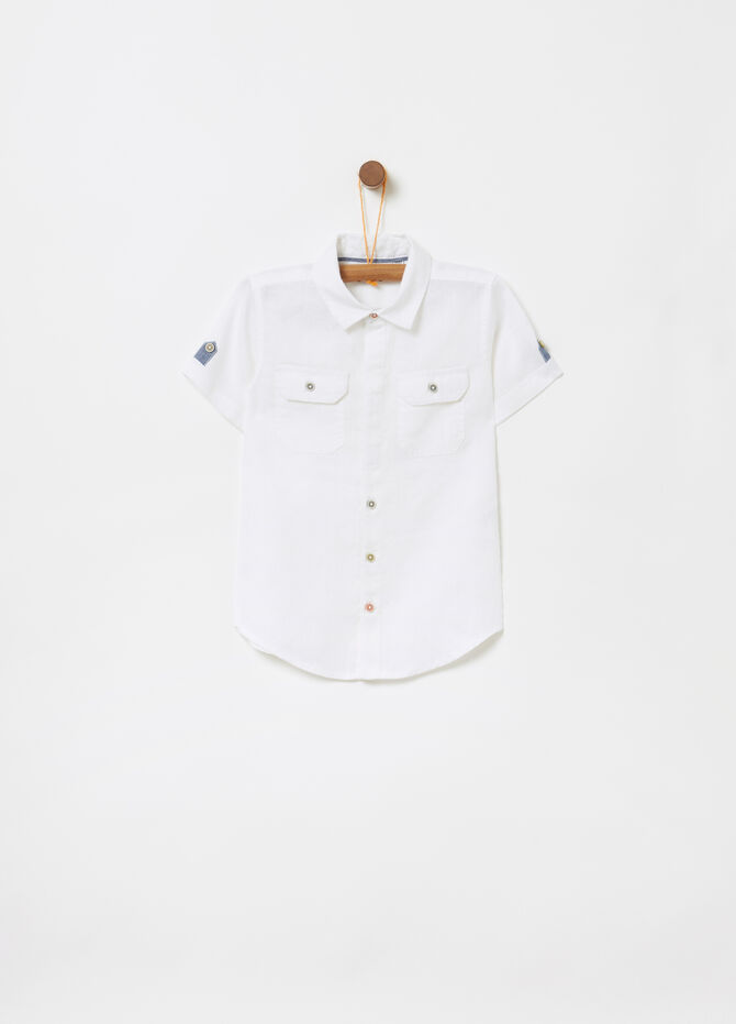 100% linen shirt with contrasting details