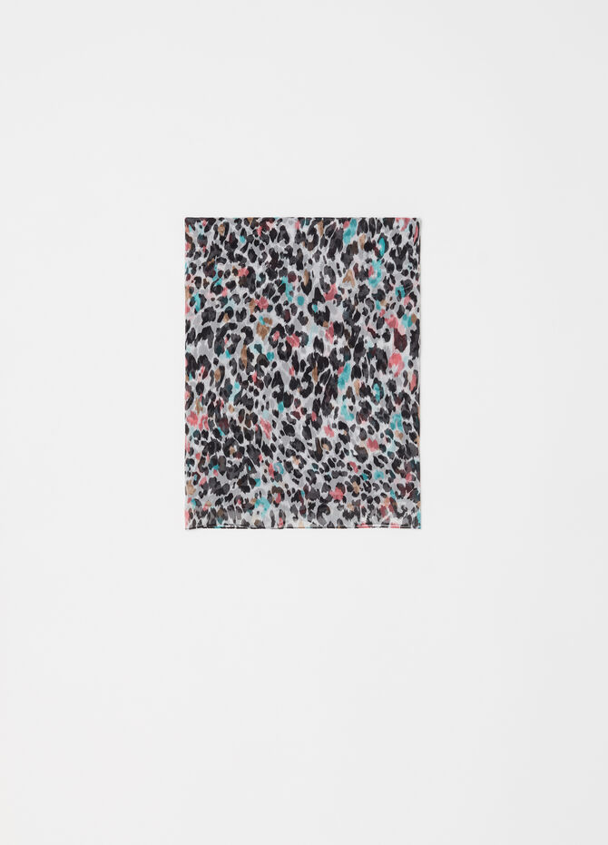 Multicoloured animal print scarf