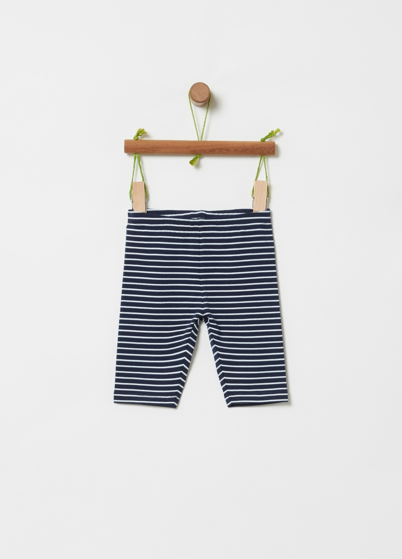 Striped stretch cotton shorts image number null