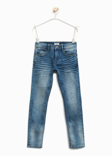Jeans straight fit used con abrasioni