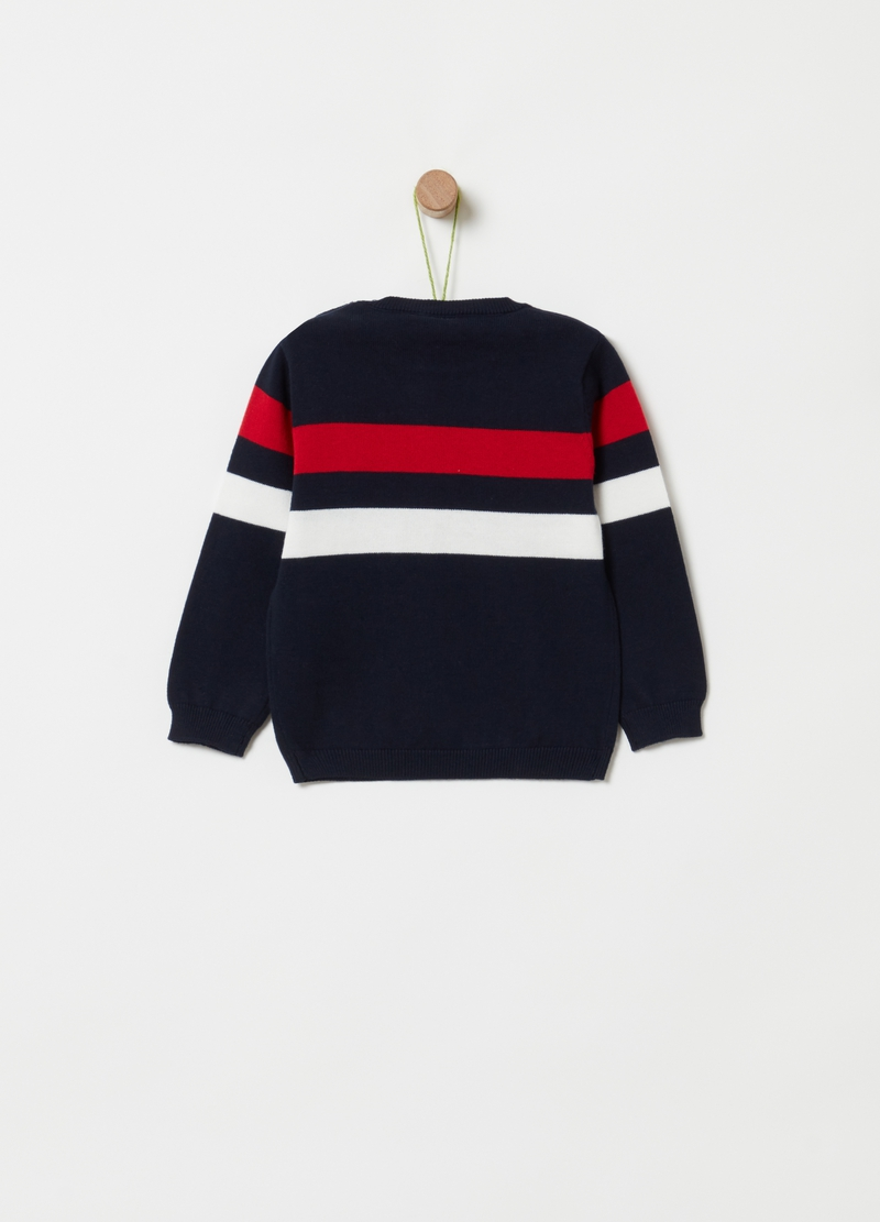 Knitted pullover with striped print image number null