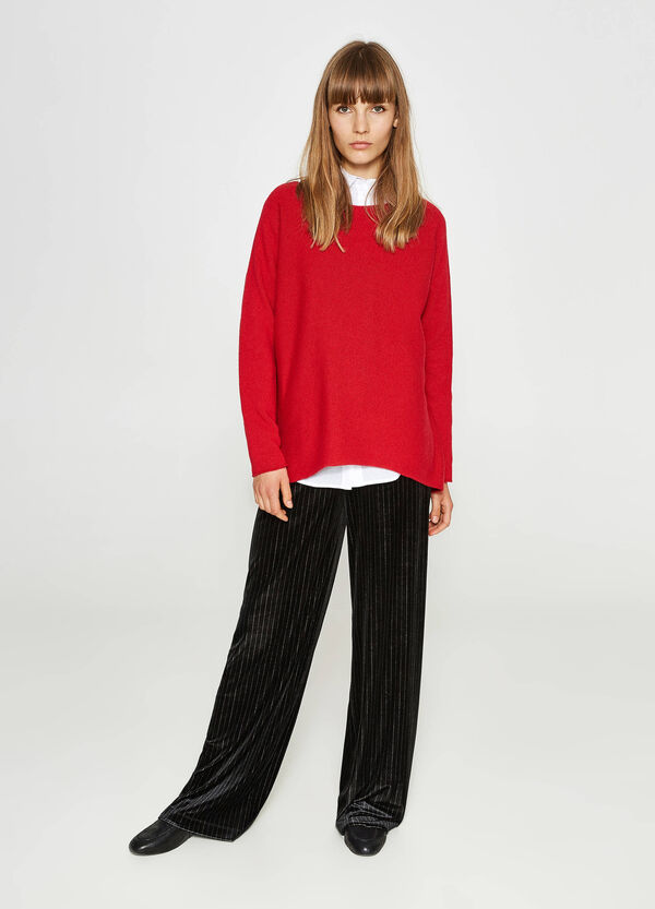 Wool and viscose cashmere pullover