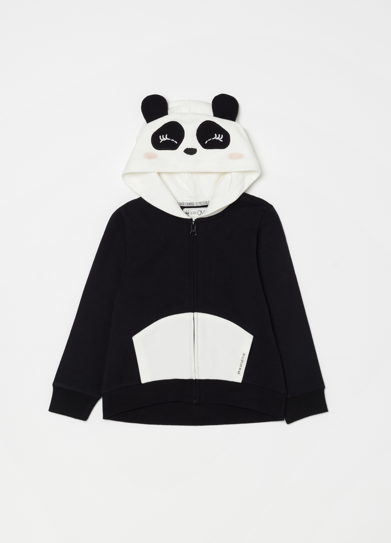 Full-zip sweatshirt in organic cotton with WWF Panda motif image number null
