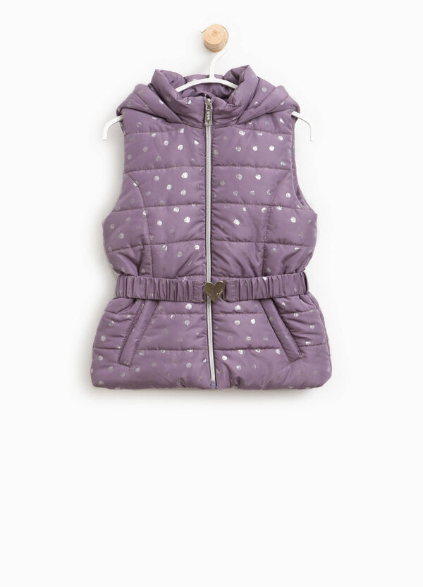 Padded gilet with polka dot hood | OVS