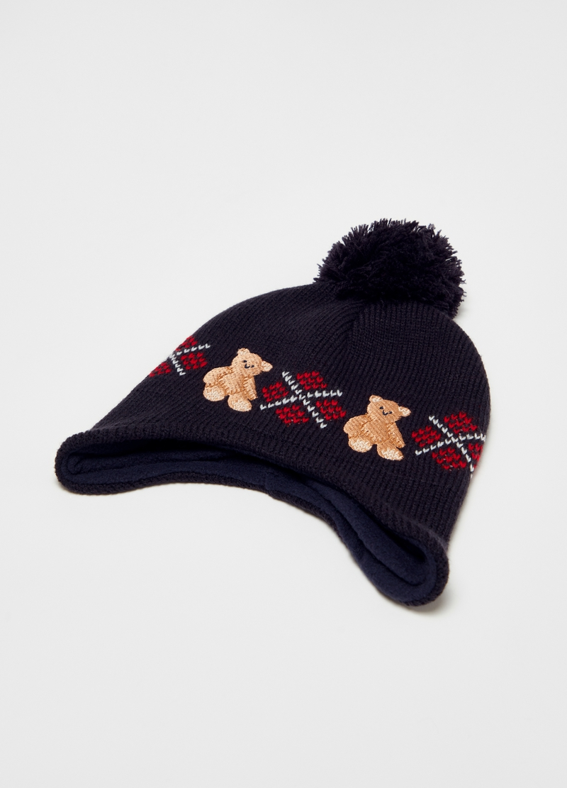 Hat with pompom and teddy bears image number null