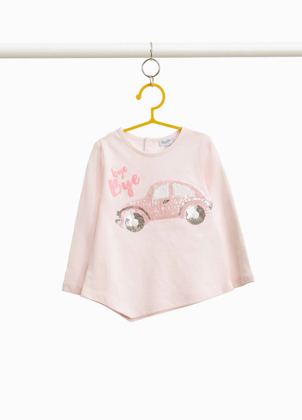 T-shirt with car sequins